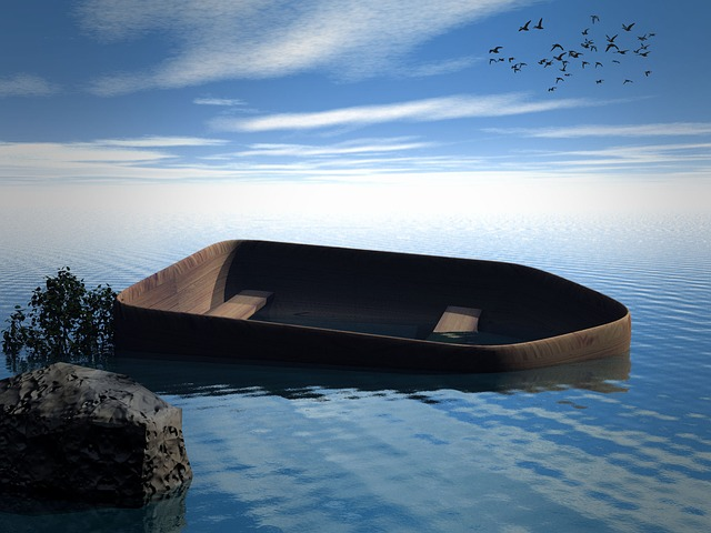 Sea, Boot, Rock, Sky, Water, Bird, Clouds