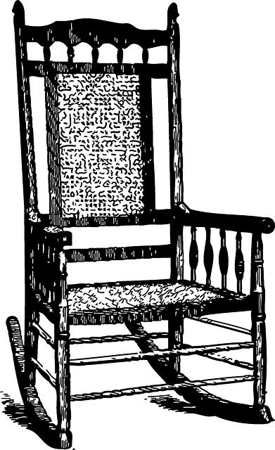 Rocking Chair, Rocker, Drawing, Vintage, Furniture