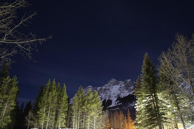 Rockies, Snow, The Night Sky, Snow Mountain