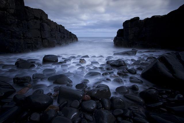 Rocks, Pebbles, Sea, Long Exposure, Ocean, Beach