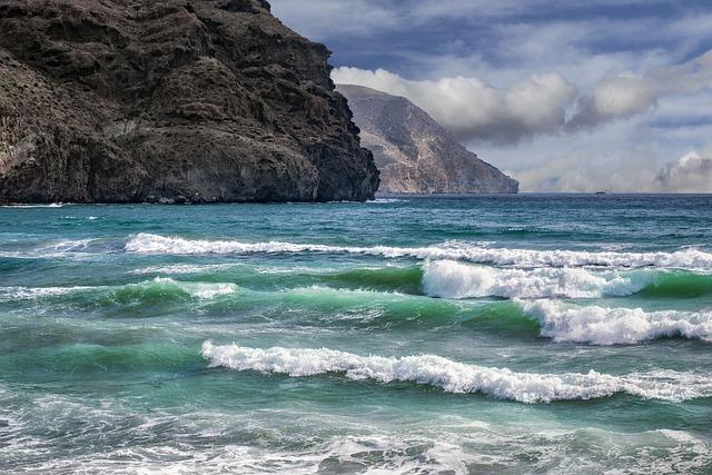 Beach, Waves, Costa, Rocks, Sky, Cabo De Gata, Almeria