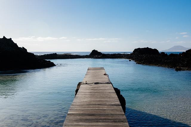 Dock, Ocean, Rocks, Sea, Sky, Water
