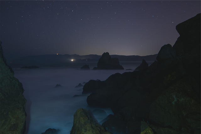 Stars, Sky, Night, Dar, Evening, Rocks, Boulders