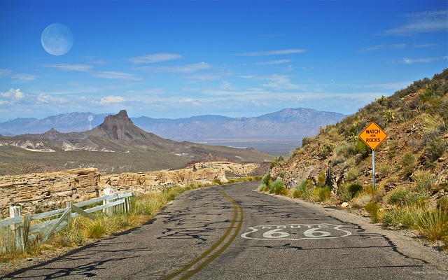 Route 66, Arizona, Sign, Saying, Watch, For, Rocks
