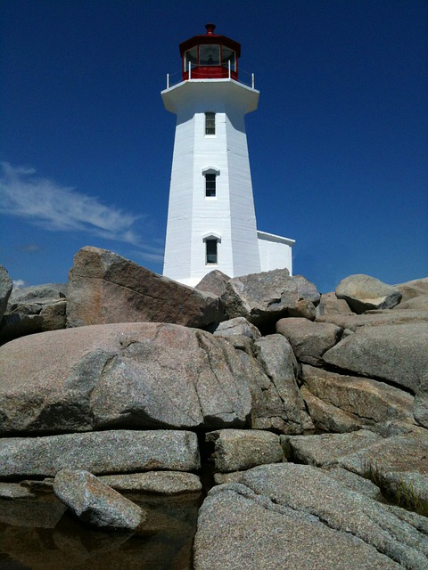 Lighthouse, Nova Scotia, Rocks, Ocean, Peggy's Cove