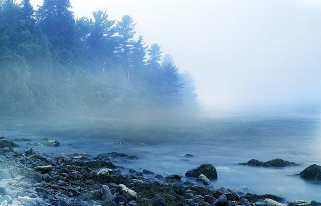 Mist, Misty, Fog, Foggy, Morning, Lake, Rocks, Water