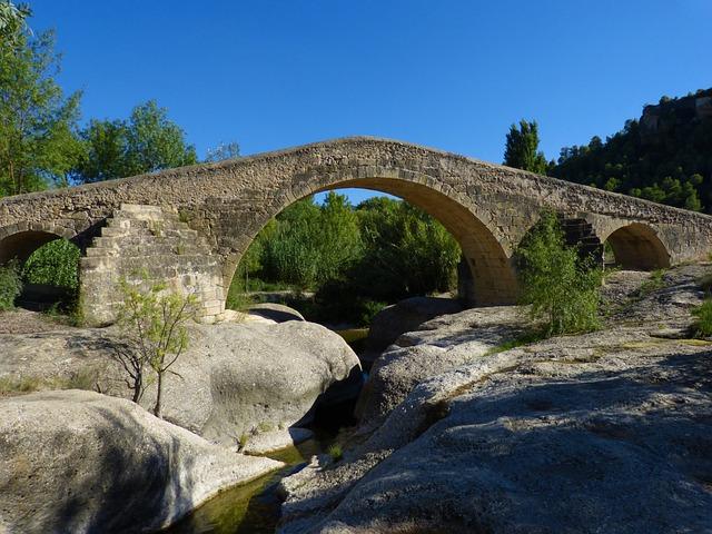 Bridge, Romanesque, Medieval, River, Rocks