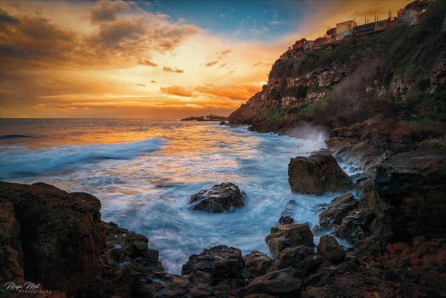 Body Of Water, Side, Sunset, Sea, Landscape, Rocks