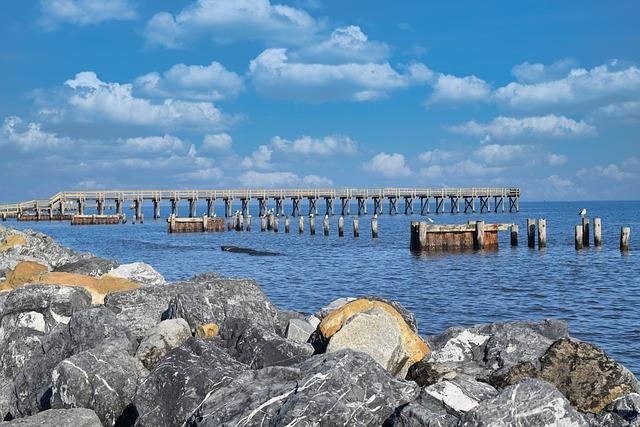 Bay, Coast, Scenic, Boardwalk, Rocks, Seascape, Piles