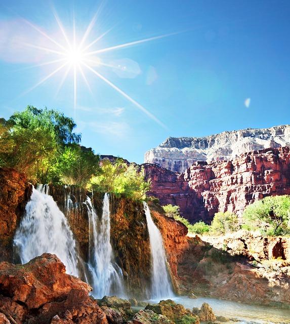 Nature, Waterfall, Sun, Mountains, Rocks