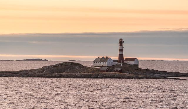 Norway Island, Rocky, Sunset, Lighthouse, Architecture