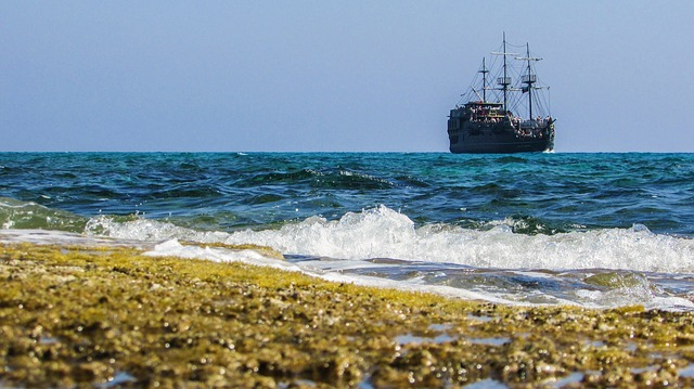 Rocky Beach, Wave, Sea, Coast, Summer, Cruise Boat
