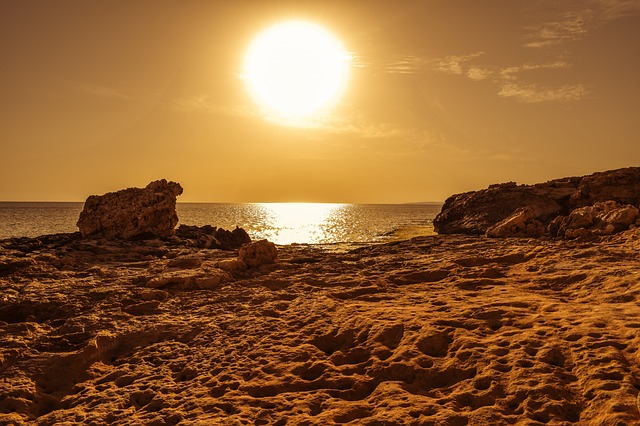 Sun, Sunset, Afternoon, Coast, Rocky Coast, Wilderness