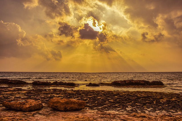Rocky Coast, Sunset, Dusk, Sea, Sky, Clouds