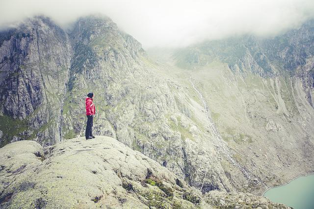 Fog, Lake, Mountain, Person, Rocky, Rocky Mountain