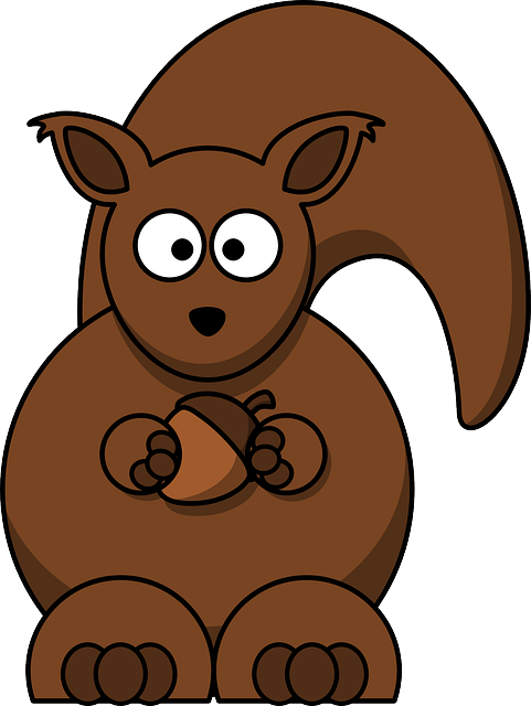 Squirrel, Brown, Cartoon, Acorn, Rodent, Creature