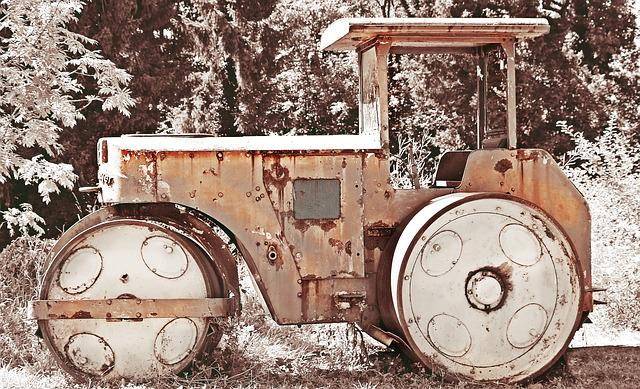 Roll, Construction Machine, Road Roller, Old, Rots