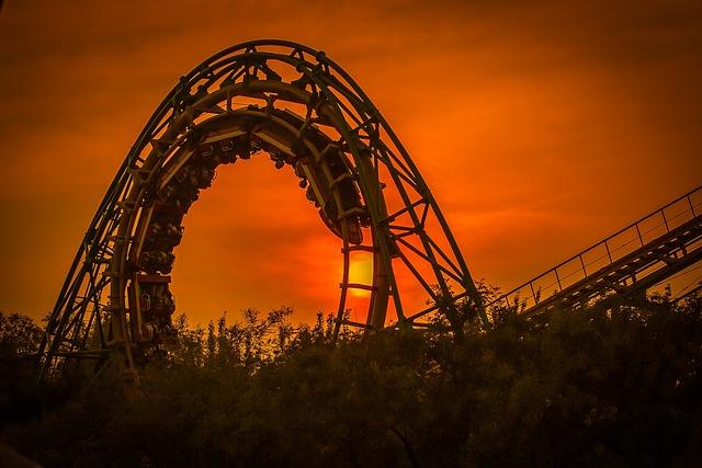 Roller Coaster, Amusement Park, Sunset, Dusk