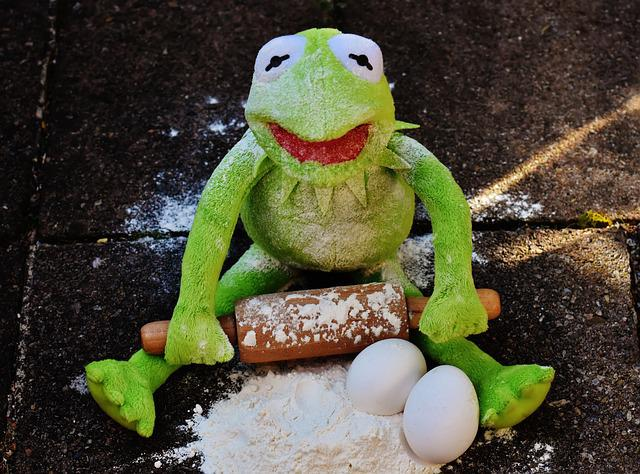 Kermit, Bake, Rolling Pin, Egg, Flour, Ingredients