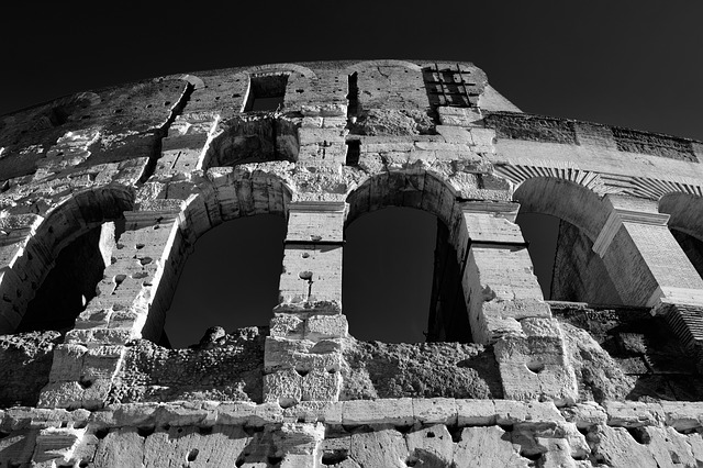 Rome, Roma, Colosseum, Italy, Black White, Ancient