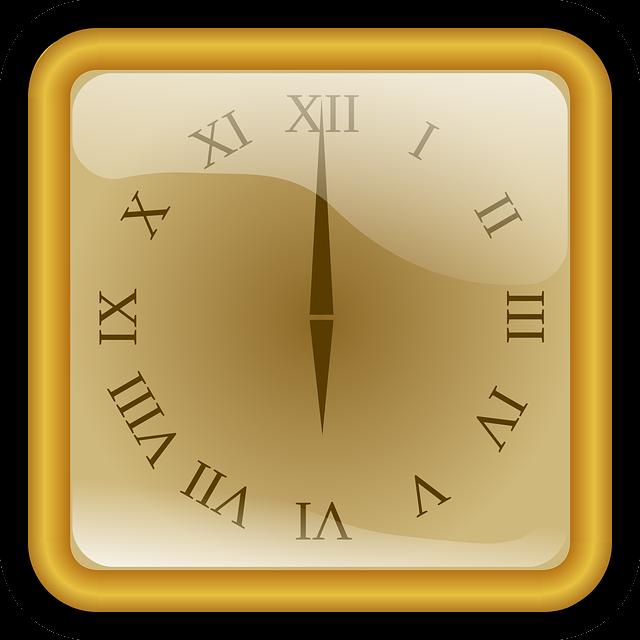Clock, Golden, Number, Roman, Square, Watch