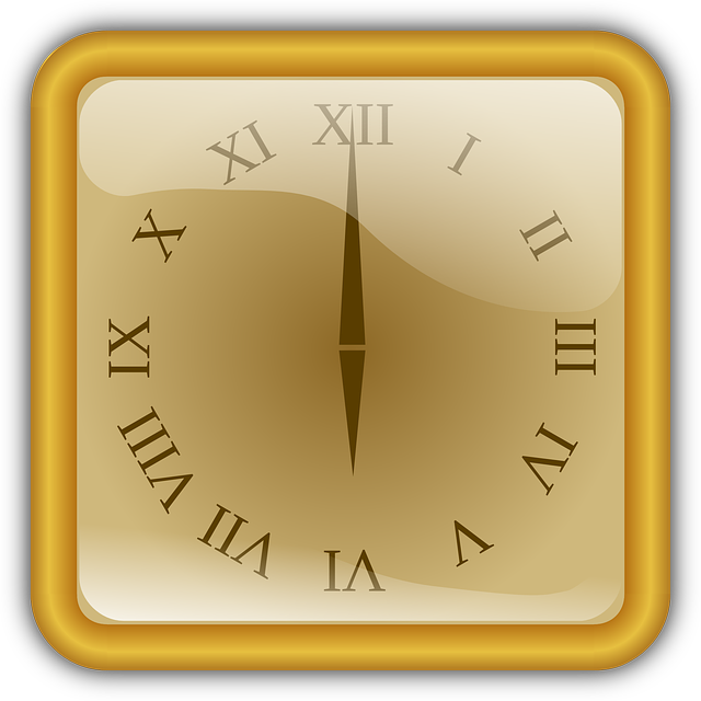 Clock, Golden, Number, Roman, Square, Watch