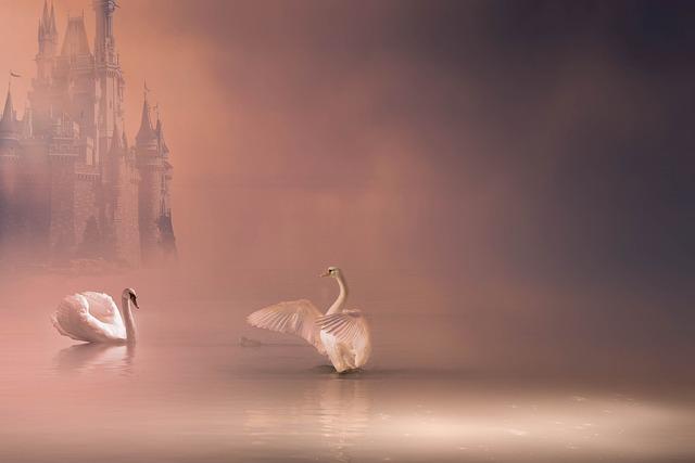 Fantasy, Swans, Romance, Castle, Love