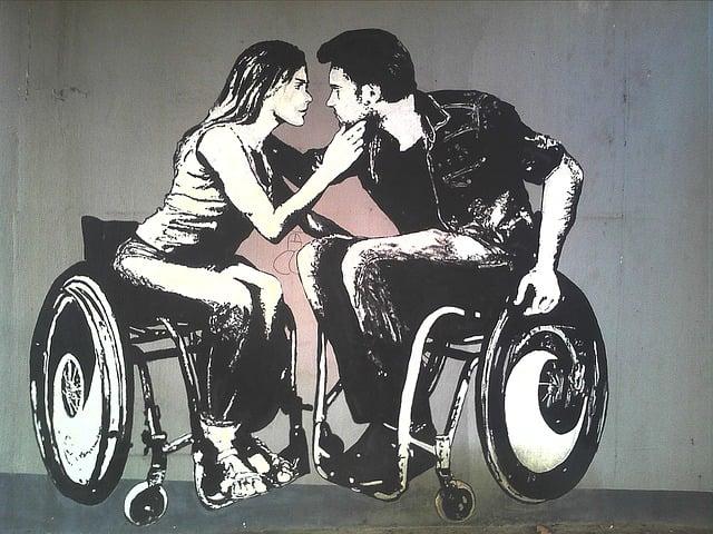 Graffiti, Disability, Woman, Male, Love, Romance