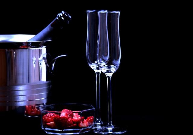 Strawberries, Champagne Glasses, Romance