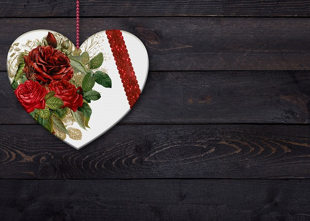 Heart, Flowers, Background Image, Romantic, Wood, Love