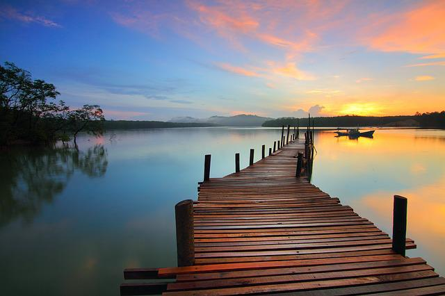 Sunrise, Jetty, Pier, Lake, Romantic