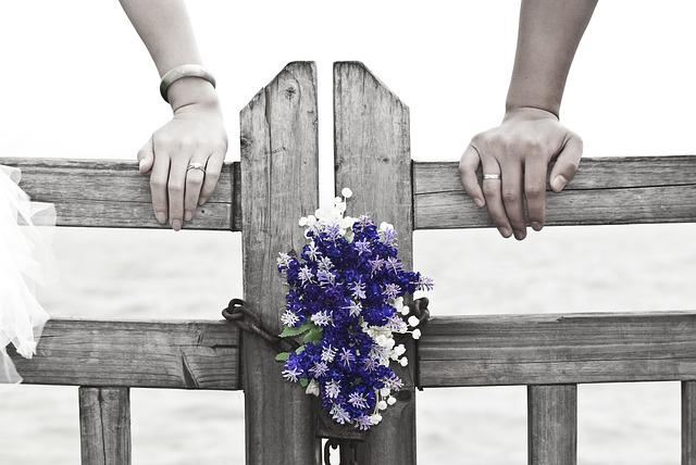 Wedding, Romantic, Flowers, Wooden Fence, Love, Purple