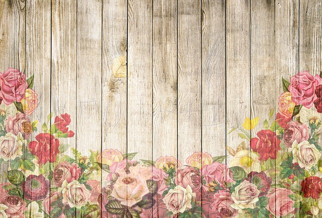 Roses, Wooden Wall, Background, Romantic, Playful