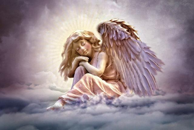 Angel, Clouds, Sky, Violet, Wing, Romantic