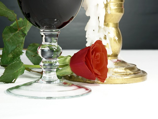 Romantic, Rose, Candle, Wine, Glass, Red, Love, Flower