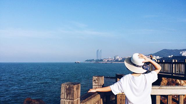 Travel, Xiamen, Sea, China, Romantic, Woman, Rear View
