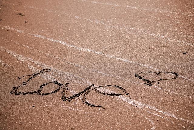 Love, Beach, Romanticism, Heart, Sand, Written