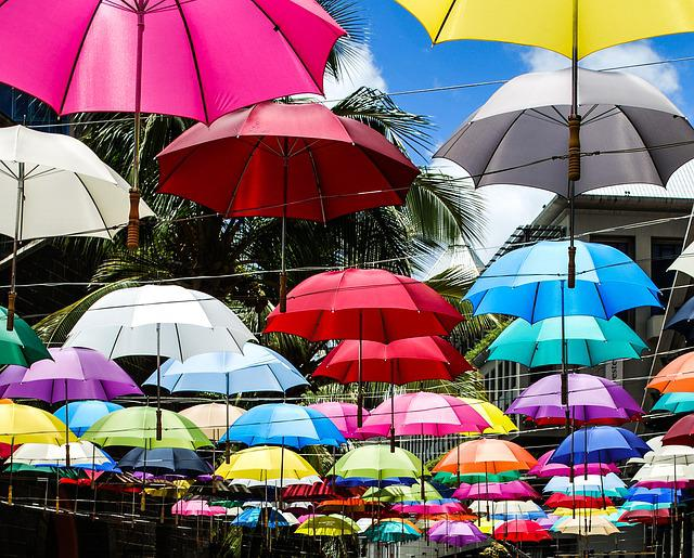 Umbrellas, Sky, Hanging, Colours, Color, Shadow, Roof