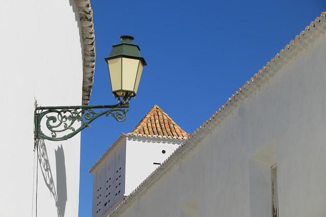 Portugal, Faro, Wall, Streetlight, Old, Roof, Tile