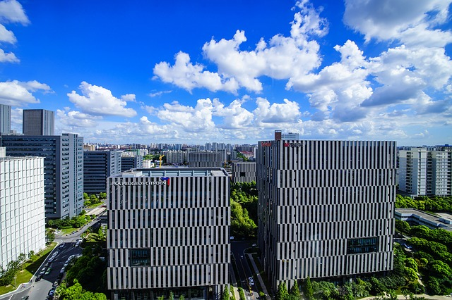 Roof, White Cloud, Blue Sky, Overlooking The, City