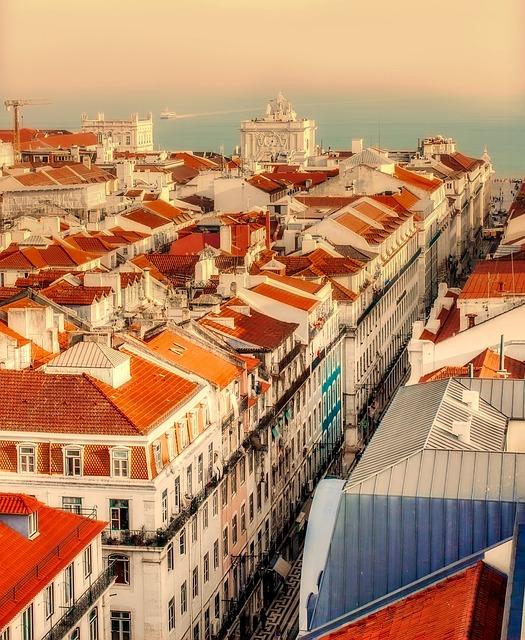 Lisbon, Portugal, City, Urban, Buildings, Rooftops, Sea