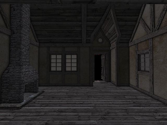 Space, Room, Empty Space, Fireplace, Open Door, Window