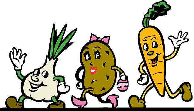 Vegetables, Cartoon, Root Vegetables, Running, Waving