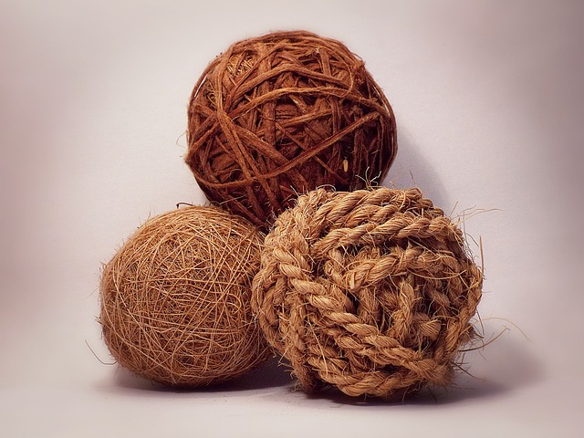 Three Balls, Sphere, Decoration, Brown, Rope, Ball