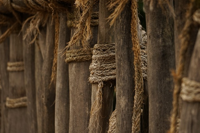 Fence, Fence Posts, Rope, Woven, Fixing