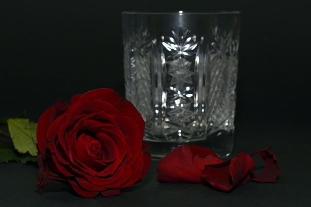Rose, Red Rose, Rose Petals, Crystal Glass, Crystal