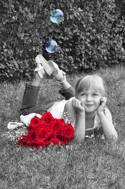 Girl, Little Girl, Dreaming, Roses, Red