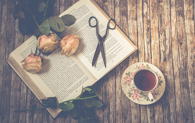 Tea, Scissors, Roses, Book, Petals, Rose Petals