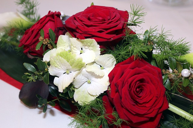 Roses, Table Decoration, Table Arrangement, Flowers