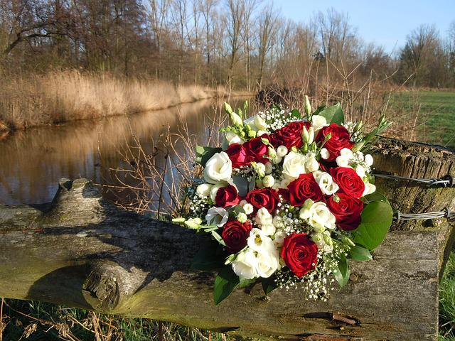 Wedding Bouquet, Flower, Roses, Red, White, River